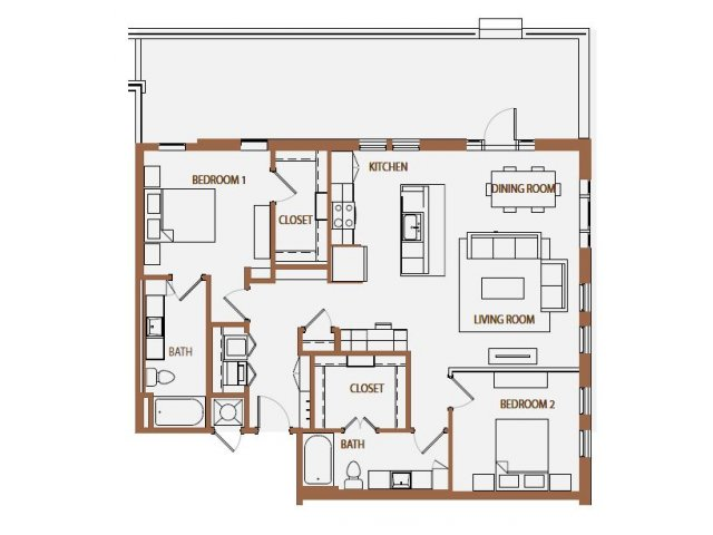 1,295 sq. ft. B3-2 floor plan