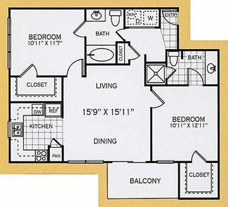 932 sq. ft. B2C floor plan