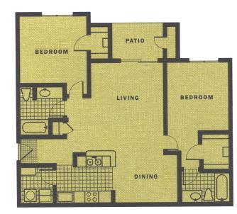 1,044 sq. ft. B5-III floor plan