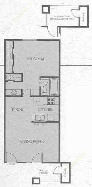 585 sq. ft. C floor plan
