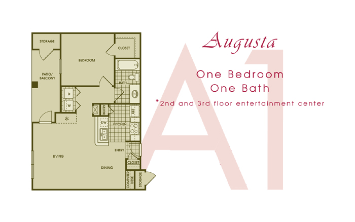 750 sq. ft. AUGUSTA floor plan