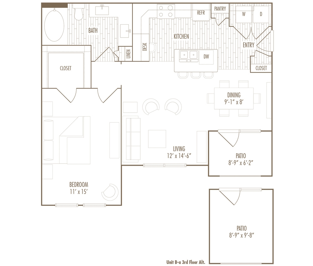 780 sq. ft. BA floor plan