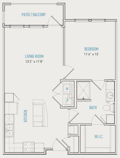 742 sq. ft. A3-S floor plan