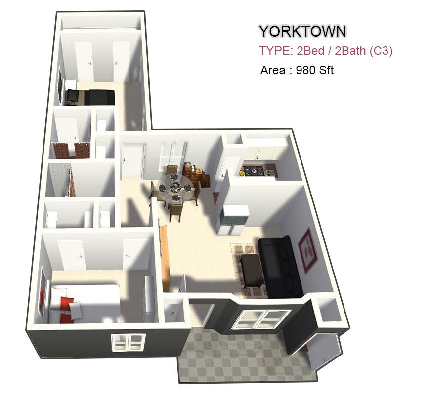 1,090 sq. ft. 2X2 floor plan
