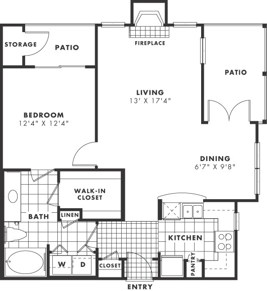 780 sq. ft. PH II floor plan