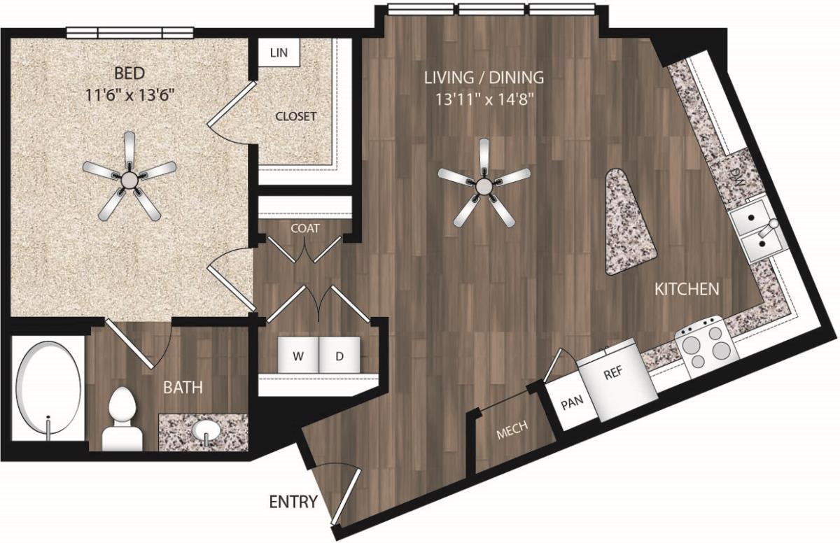 763 sq. ft. A4.1 floor plan