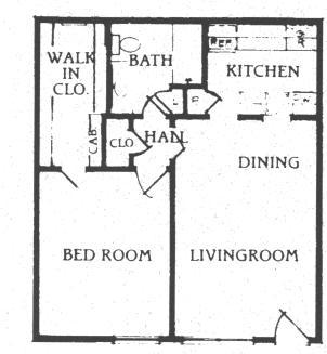 648 sq. ft. A-1 floor plan