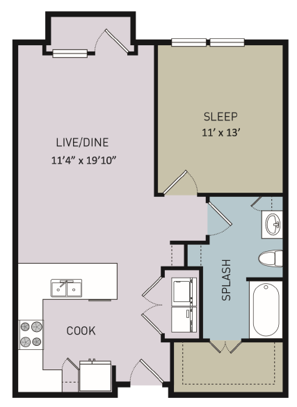 712 sq. ft. to 736 sq. ft. A4 floor plan