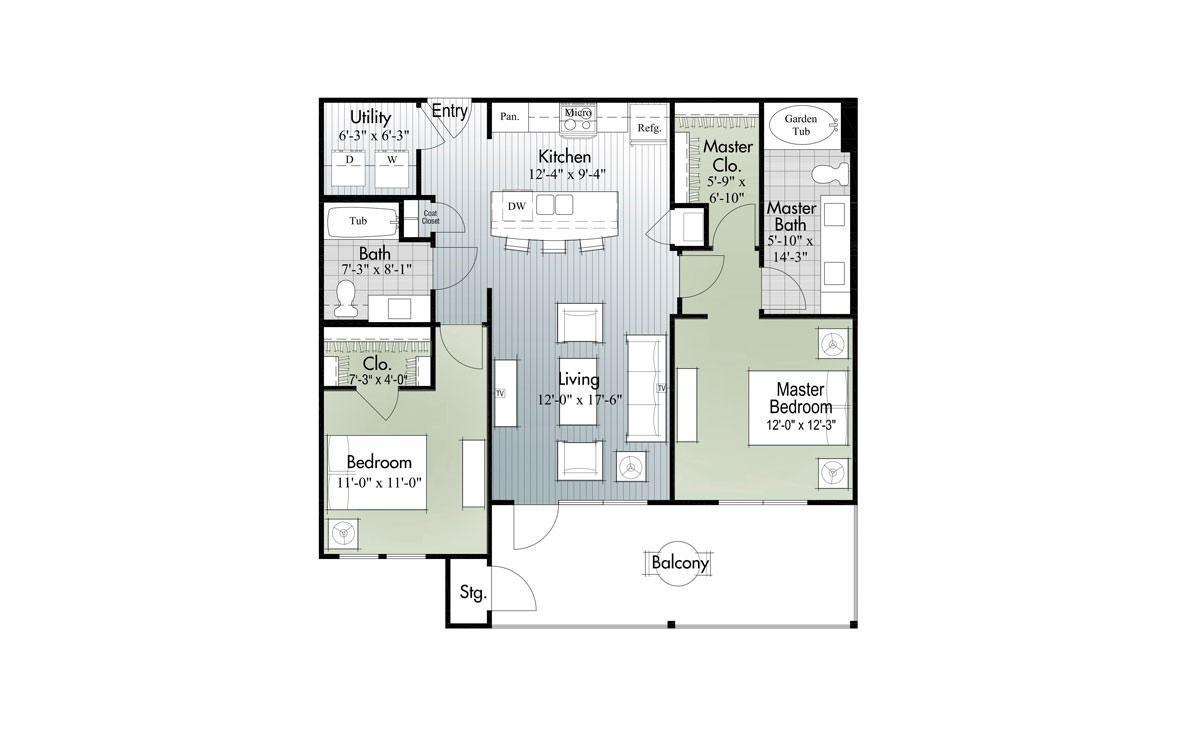1,026 sq. ft. B2a floor plan