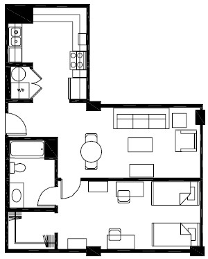 720 sq. ft. A6 floor plan