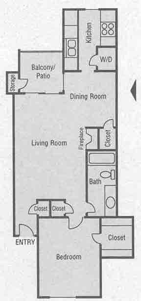 758 sq. ft. B1-B2 floor plan