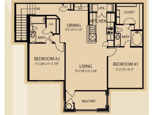 1,126 sq. ft. B5 floor plan