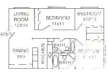 1,061 sq. ft. C-1 floor plan