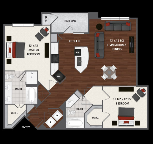 1,182 sq. ft. to 1,187 sq. ft. Hope floor plan