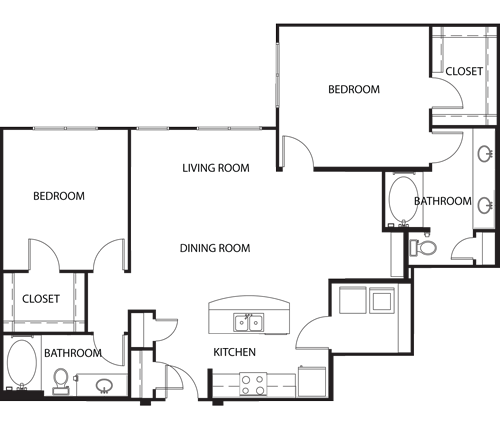 1,230 sq. ft. B3 floor plan