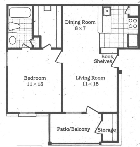 575 sq. ft. Periwinkle floor plan