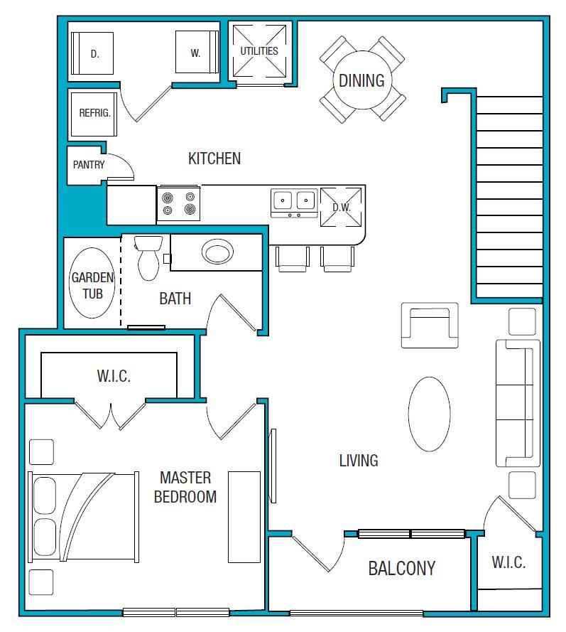 954 sq. ft. A4 floor plan