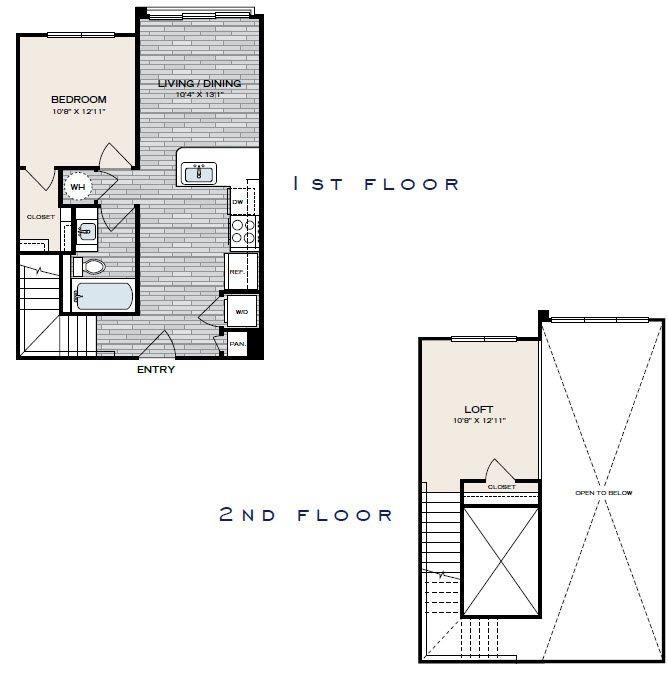 885 sq. ft. A1 floor plan