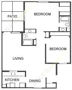 1,062 sq. ft. 2X2 floor plan