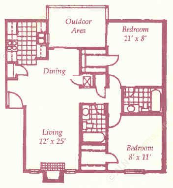 932 sq. ft. I floor plan