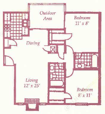 932 sq. ft. I floor plan