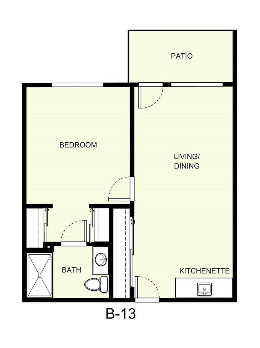 600 sq. ft. B13 floor plan