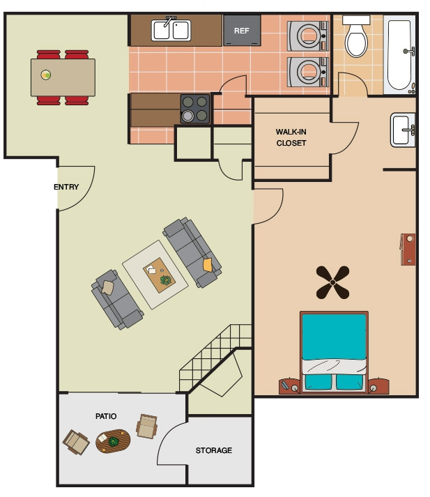685 sq. ft. A2 floor plan