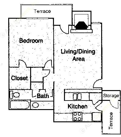 672 sq. ft. A1 floor plan