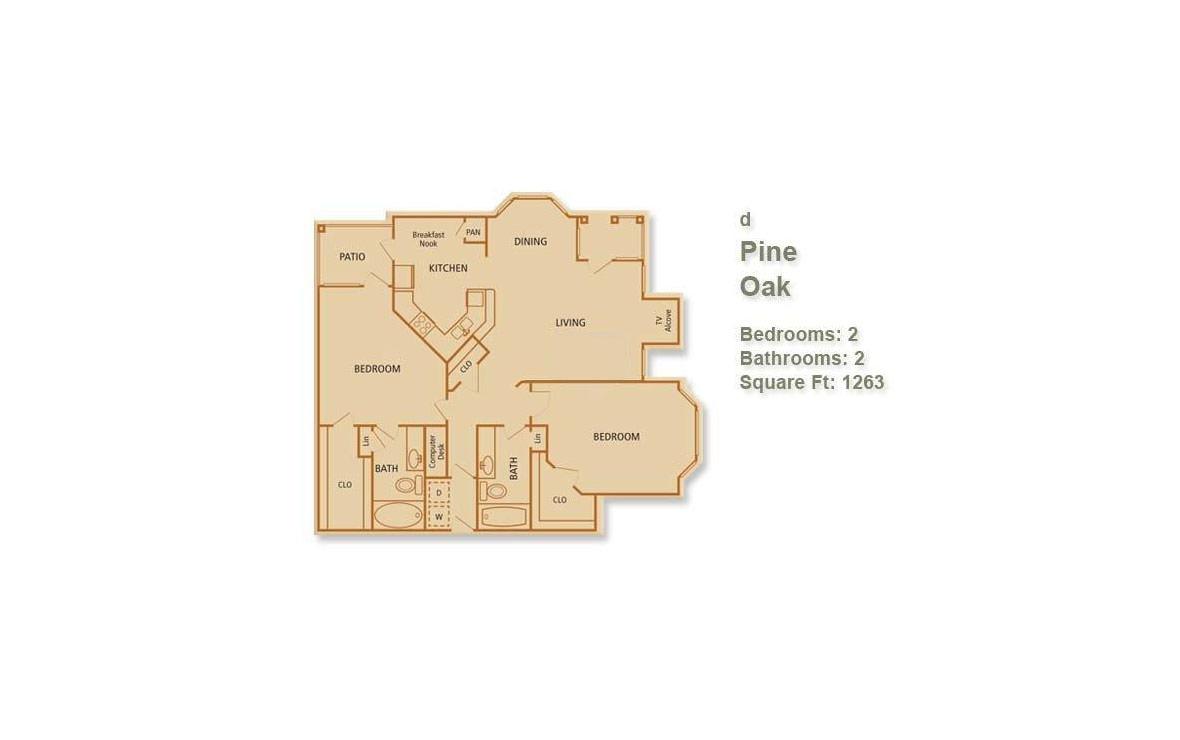1,263 sq. ft. Pine Oak floor plan