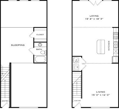 1,200 sq. ft. A1K floor plan