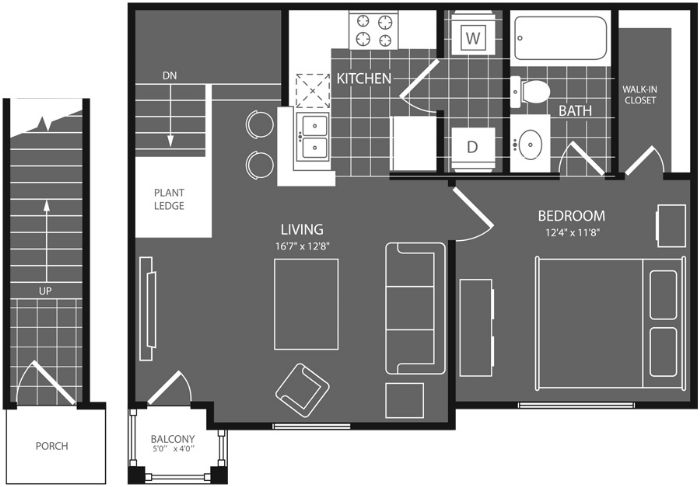 600 sq. ft. Live Oak floor plan