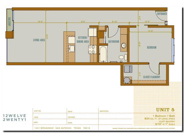 834 sq. ft. 2A5 floor plan