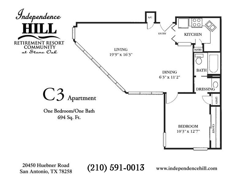 694 sq. ft. C3 floor plan