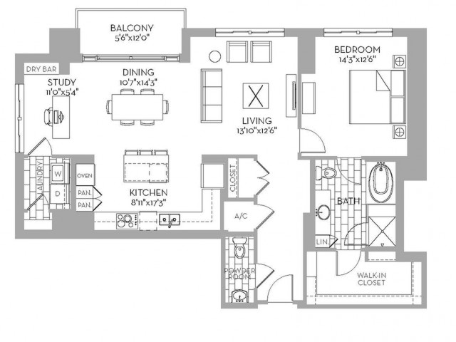 1,246 sq. ft. Preston(A.3) floor plan