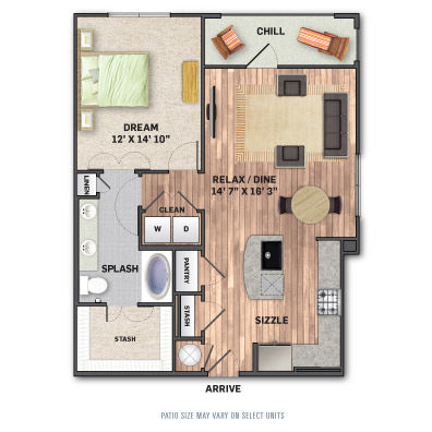 872 sq. ft. A3 floor plan