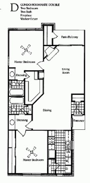1,100 sq. ft. D1&D2 floor plan