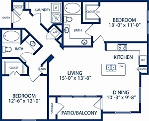 1,174 sq. ft. Pecan floor plan