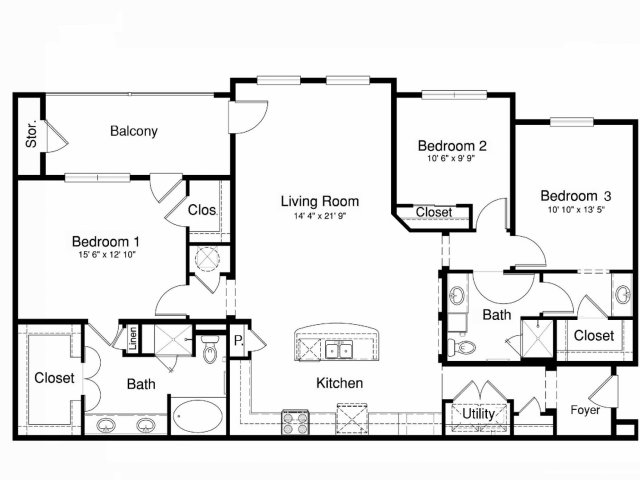 1,670 sq. ft. C1 floor plan