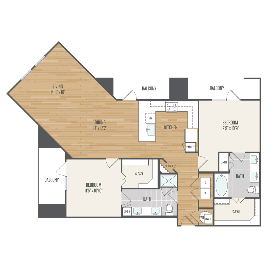 1,259 sq. ft. B7 floor plan