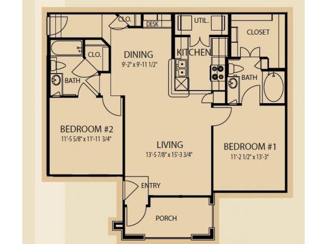 1,025 sq. ft. B2 floor plan