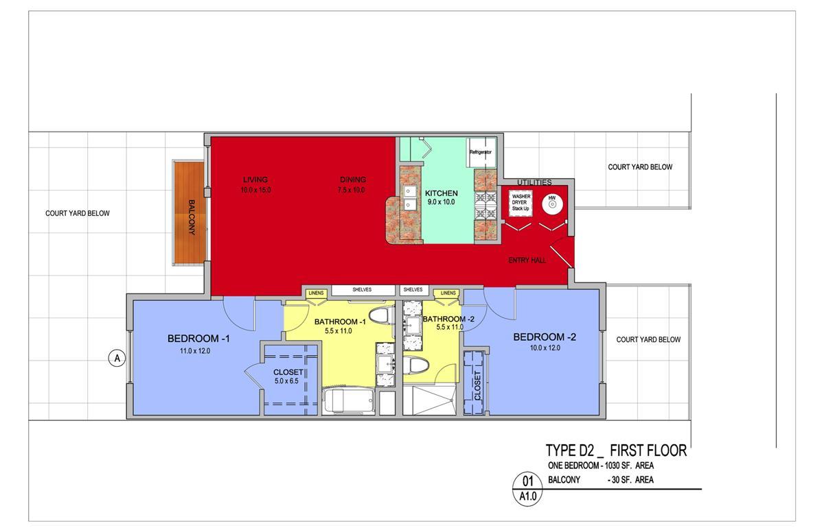 1,060 sq. ft. Aspen floor plan