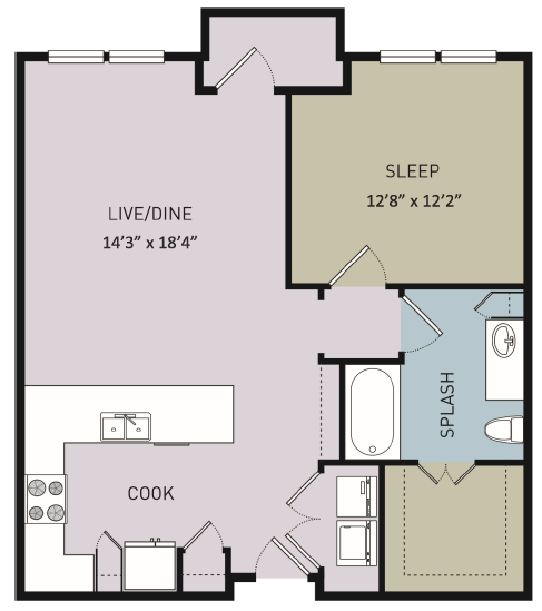 813 sq. ft. to 833 sq. ft. A8 floor plan