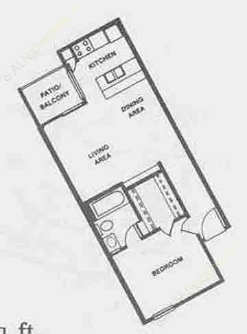 513 sq. ft. A3 floor plan