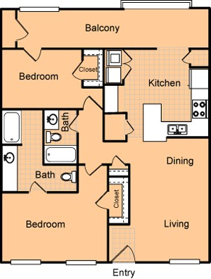 1,079 sq. ft. B2H/60% floor plan