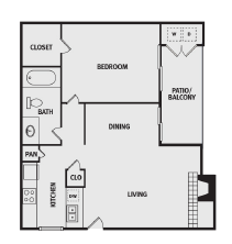 689 sq. ft. AAA floor plan