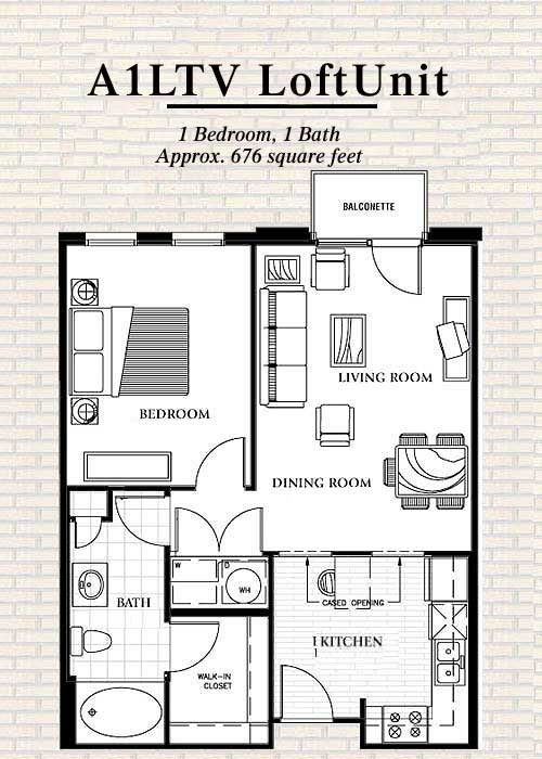 676 sq. ft. to 770 sq. ft. A7 floor plan