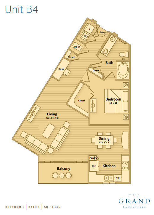 986 sq. ft. B4 floor plan