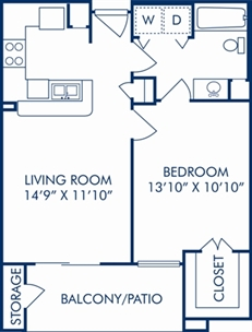 636 sq. ft. A floor plan