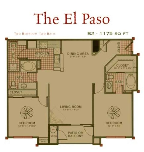 1,175 sq. ft. El Paso floor plan