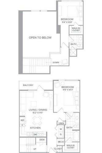 1,148 sq. ft. B4A floor plan